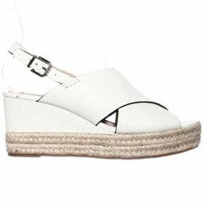 Via Spiga White Leather Espadrilles Sandals Wedges